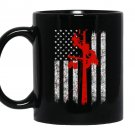 Cool red silhouette grunge american flag lineman Mug Black
