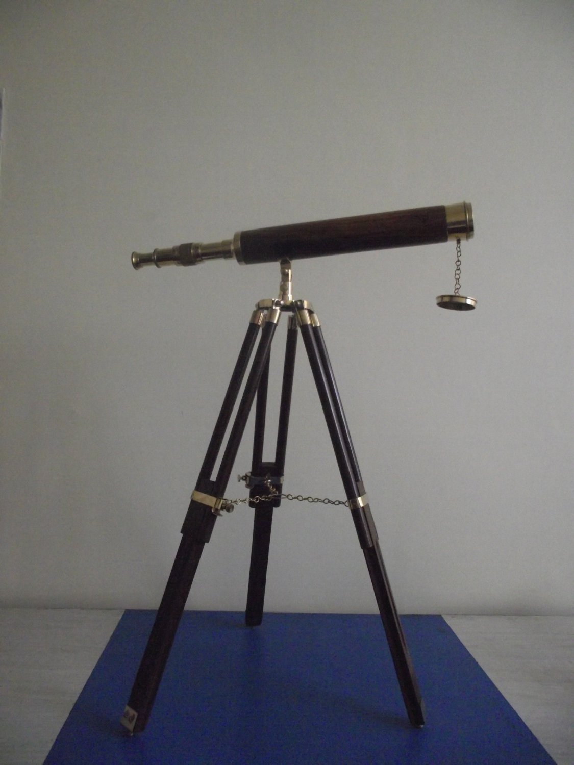 Wood and Brass Finish Table Top Telescope 18""