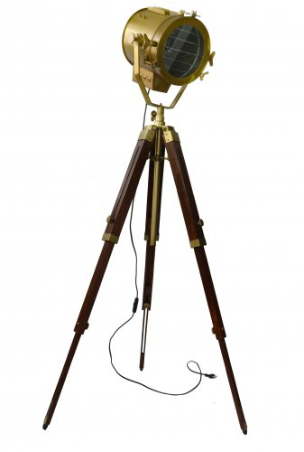 ANTIQUE LAMP WITH PORTABLE TRIPOD STAND IN ANTIQUE WOOD FINISHING
