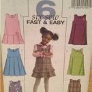 Butterick Sewing Pattern 4842 Girls Childs Jumpers Size 4-6 Uncut