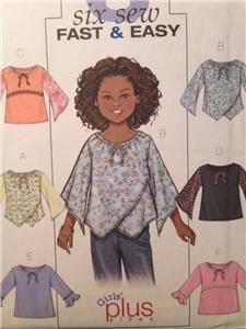 Butterick Sewing Pattern 4274 Girls Plus YTop Blouse Tunic 10 1/2- 16 1/2