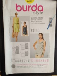 Burda Sewing Pattern 7205 Ladies  Dress & Shirt Size 8-20 Uncut