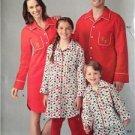 Simplicity Sewing Pattern 0100 Family Pajamas Pants Shirt Size XS-XL