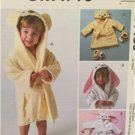 McCalls Sewing Pattern 4489 Toddler Robes Bath Mitt Slippers Size 1-4 Uncut