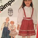 Simplicity Sewing Pattern 5628 Girls Childs Blouse Skirt Suspenders Size 4 Uncut