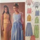 McCalls Sewing Pattern 3875 Girls Childs Lined Tops CoverUp Skirts Size 7-12 UC