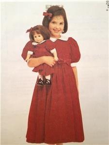"""McCalls Sewing Pattern 9589 Girls Childs Dress & Matching 18"""" Doll Dress Siz 4-6"""