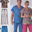 Simplicity Sewing Pattern 0816 4378 Misses Mens Scrub Tops Pants Size M-XL UC