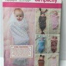 Simplicity Sewing Pattern 1898 Babies Swaddling Sacks Hats Size XXS-XS Uncut