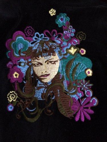 True Religion Black Velvet Miss Groovy Embroidered Lady Blazer