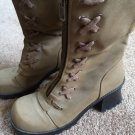 Tan Boots Lace Up Zipper Size 9 JLO style