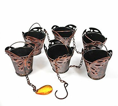 Rain Chain - 65 Inch Length Hanging Rain Catcher with Six Copper Patina Butterfly Cups