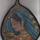 Hand painted In Water Color deepavali lady Table Top Laminated - On real leaf