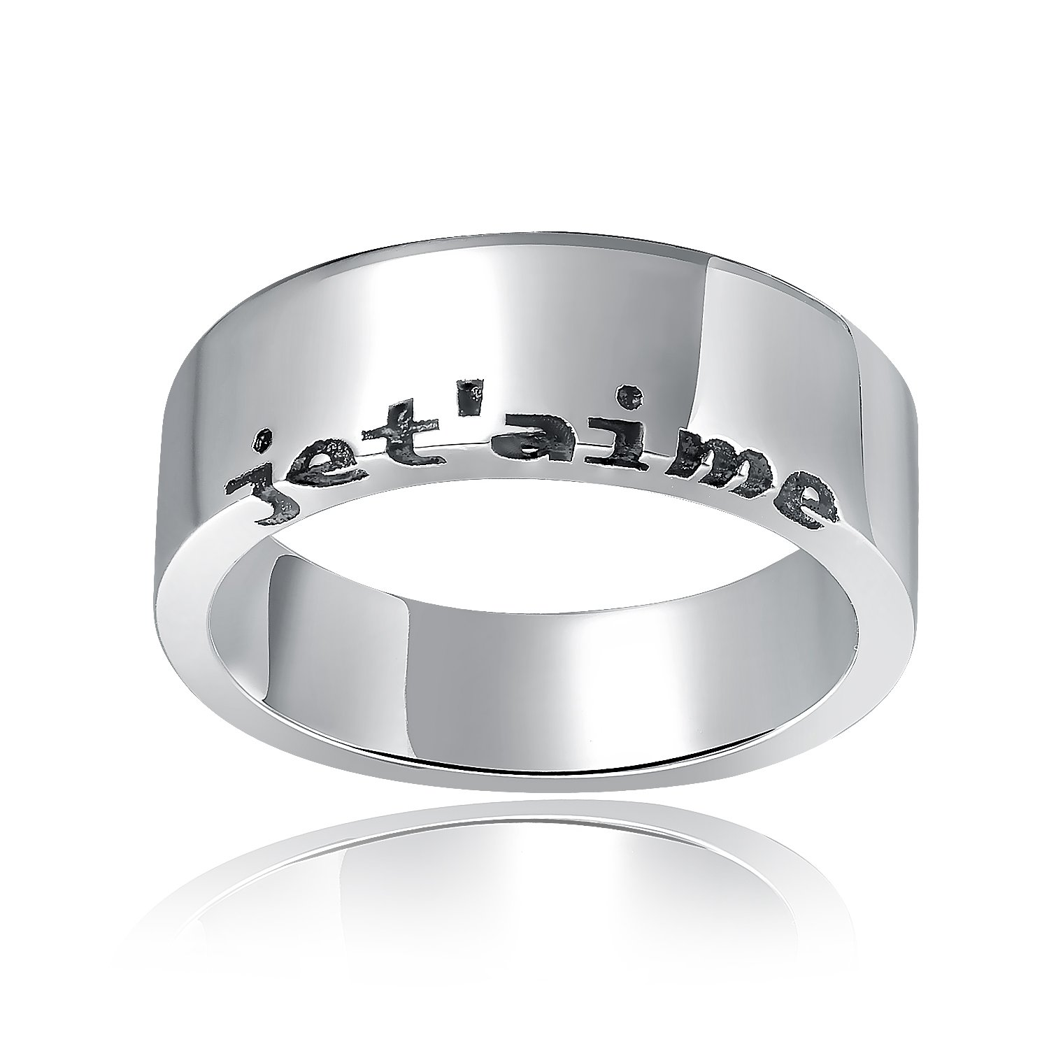"""925 Sterling Silver Engraved French """"I Love You"""" Fashion Ring Band / Pendant (Men) A10316R"""