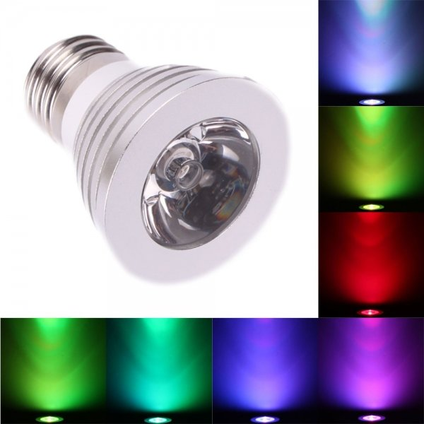 E27 3W 16 Colors Changing Dimmable LED Bulb with Remote Control (85-240V)