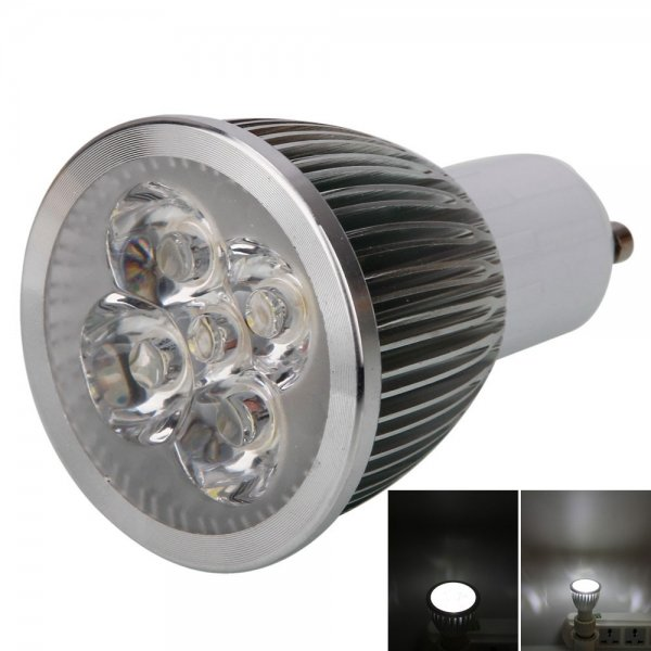 GU10 5W 5 LED 500LM 6000K White Light Spotlight Bulb (85-265V)