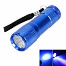 9 LED 385 ~ 400nm Purple Light Mini Flashlight Torch Blue