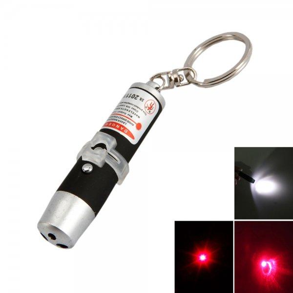 3 in 1 5mW 650nm Black LED Flashlight Red Laser Pointer Keychain (3*LR44)