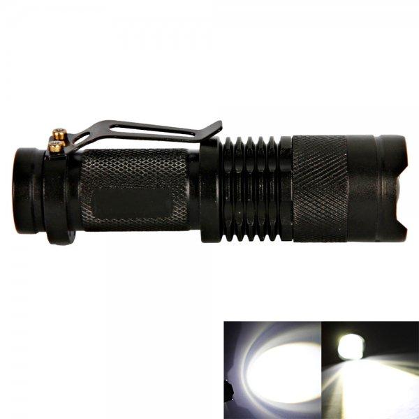 CREE Q3 3W 210 Lumen 1 Mode Mini Focus Flashlight Torch with Pen Clip Black