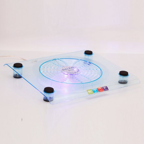 828 Big-Fan USB LED Light Laptop Cooling Pad Blue