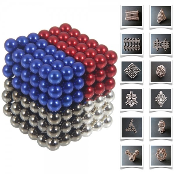 216pcs 5mm DIY Buckyballs Neocube Magic Beads Magnetic Toy Black & White & Red & Dark Blue