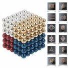 216pcs 5mm DIY Buckyballs Neocube Magic Beads Magnetic Toy Golden & White & Red & Dark Blue