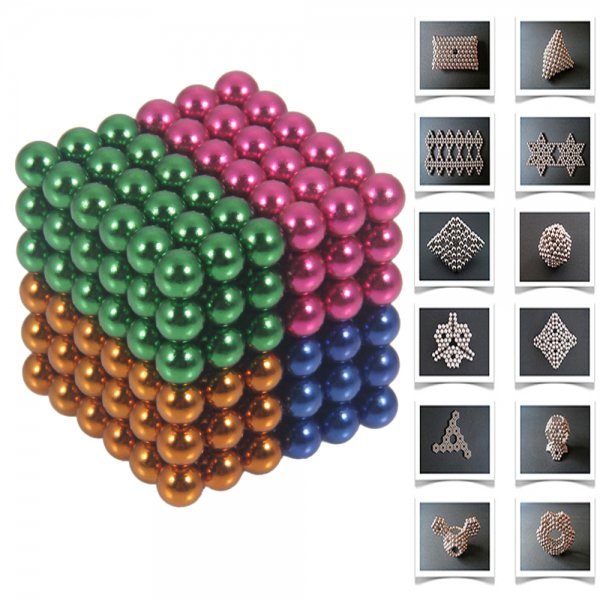 216pcs 5mm DIY Buckyballs Neocube Magic Beads Magnetic Toy Golden & White & Red & Dark Blue