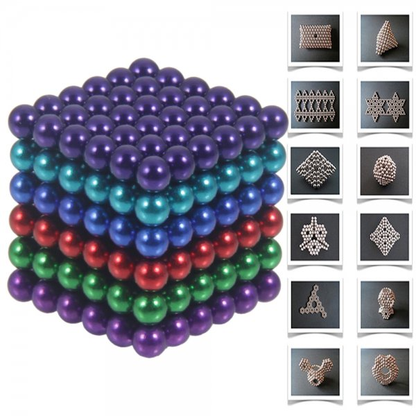 216pcs 5mm DIY Buckyballs Neocube Magic Beads Magnetic Toy Six Colors