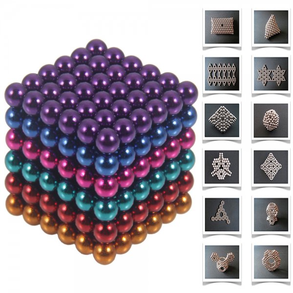 216pcs 5mm DIY Buckyballs Neocube Magic Beads Magnetic Toy Six Different Colors