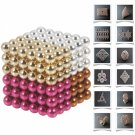 216pcs 5mm DIY Buckyballs Neocube Magic Beads Magnetic Toy Orange & White & Golden & Rose Red