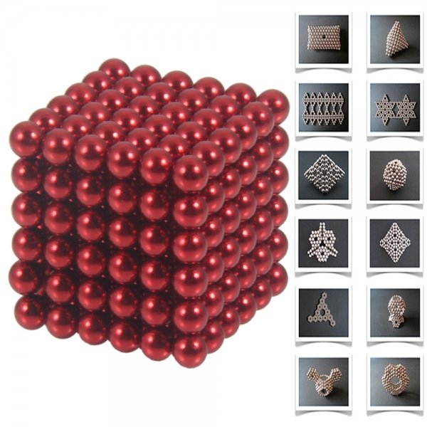 216pcs 5mm DIY Buckyballs Neocube Magnetic Beads Puzzle Toy Red