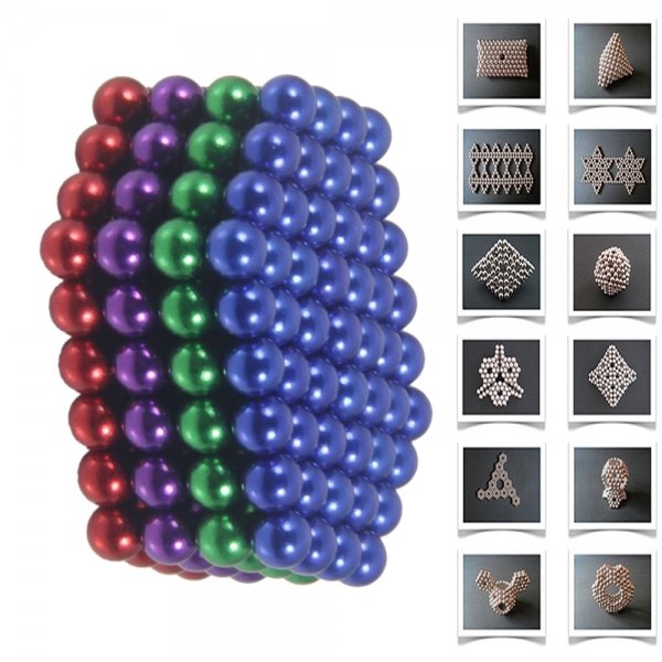 216pcs 5mm DIY Buckyballs Neocube Magic Beads Magnetic Toy Dark Blue & Red & Green & Purple