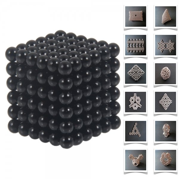 216pcs 5mm DIY Buckyballs Neocube Magic Beads Magnetic Toy Dark Black