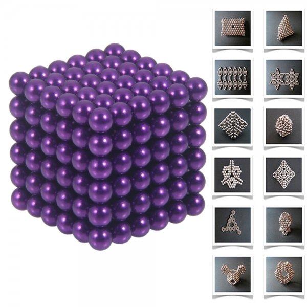 216pcs 5mm DIY Buckyballs Neocube Magic Beads Magnetic Toy Purple