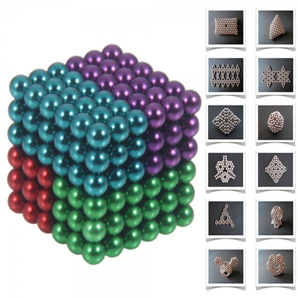 216pcs 5mm DIY Buckyballs Neocube Magnetic Beads Toy 4 in 1 Colourful