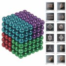216pcs 5mm DIY Buckyballs Neocube Magic Beads Magnetic Toy Green & Red & Purple & Light Blue