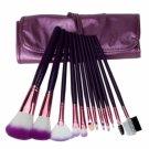 12pcs Professional Cosmetic Makeup Brush Set with Bag Purple