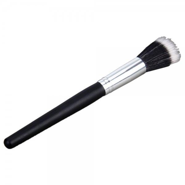 Professional Nylon Hair Makeup Blush Powder Brush Long Handle Black White