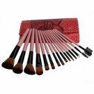 15pcs Cosmetic Makeup Brush Set with Snake-skin Pattern Bag Pink