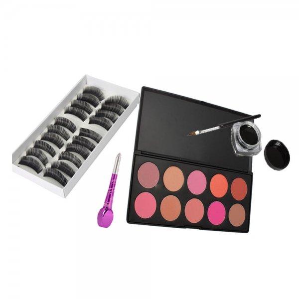 10 Color Blush Palette + 10 Pairs False Eyelashes + Eye Liner Makeup Set 010