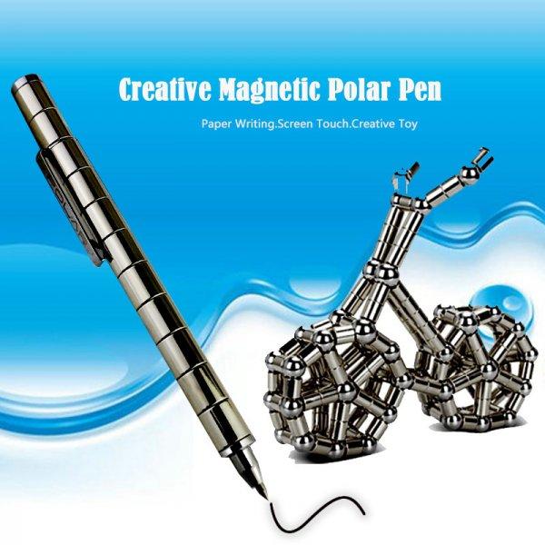 DIY Magnetic Pen with Refill & Steel Balls Black
