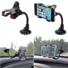 360 Flexible Car Windshield Dual Clip Mount Holder Stand Bracket for iPhone 4S 5S 5C 6 Samsung S4 S5