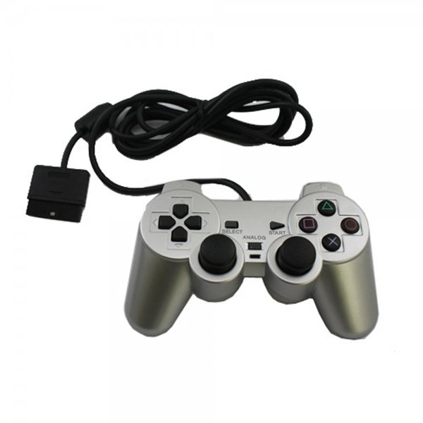 Wired Vibration Controller for Sony PlayStation 2 PS2 Silver
