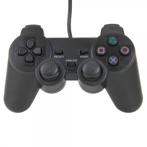 Wired Vibration Controller for Sony PlayStation 2 PS2 Black