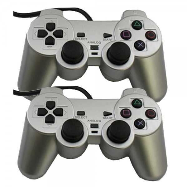 2Pcs Wired Vibration Controller for Sony PlayStation 2 PS2 Silver