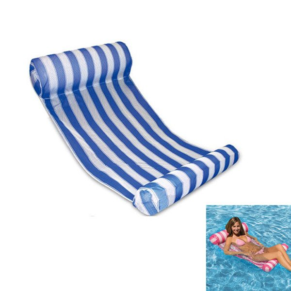 Swimming Floating Bed Water Hammock Water Recreation Blue & White