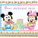 "Edible BABY MICKEY AND MINNIE image cake topper 1/4 sheet (10.5"" x 8"")"