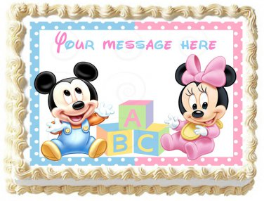 """Edible BABY MICKEY AND MINNIE image cake topper 1/4 sheet (10.5"""" x 8"""")"""