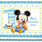 "Edible BABY MICKEY MOUSE image cake topper 1/4 sheet (10.5"" x 8"")"