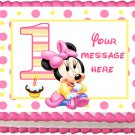 "Edible BABY MINNIE MOUSE image cake topper 1/4 sheet (10.5"" x 8"")"